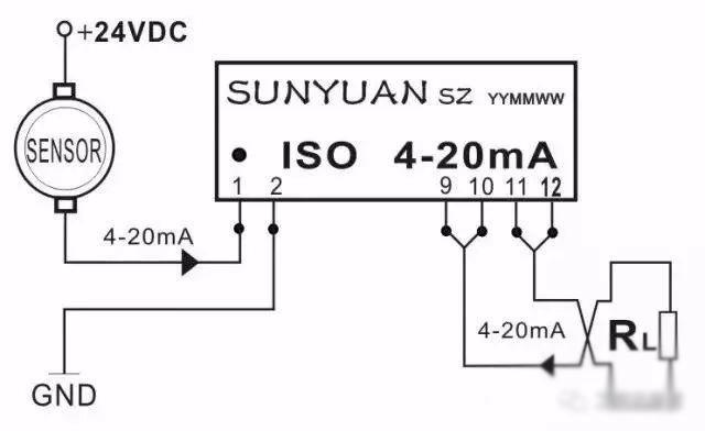 图6两线制4-20mA电流环路隔离器典型应用图 1.4两线制传感器输出4-20mA电流经隔离调理匹配(解决输入输出间冲突)后与PLC连接。如图7所示,温度、转速传感器正端接12—24VDC,负端输出4-20mA电流。