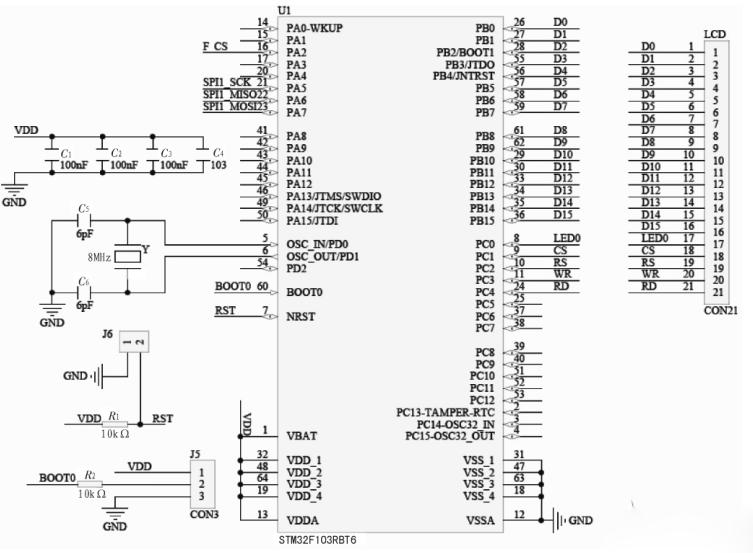 图2系统液晶接口原理图 2.3、SPI接口Flash存储叠的特点 由于在本系统中整个的汉字字库需要存储在外部Flash中,所以需要选择一种Flash存储芯片,Flash芯片选择需要满足以下要求。第一,尽量占用少的IO口,因为液晶显示器已经采用了并行接口,如果继续选用并行接口的Flash,对芯片的IO消耗较大,这样势必要选用IO更多的芯片,对于便携式设备来说,这是不合理的,所以本系统的设计过程中选用的Flash为SST公司的SST25VF080B,它采用SPI接口,SPI是一种高速的,全双工,同步的通信总
