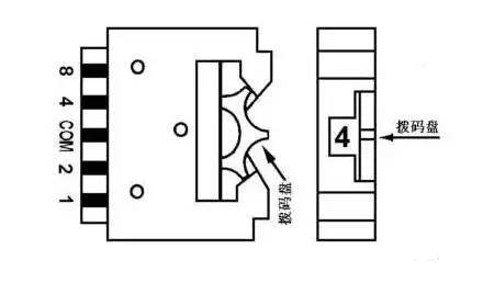 图4一位拨码开关的示意图
