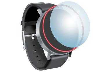 对智能手表外壳上的触摸屏进行防水密封。红色的粘合剂完全自动装填并进行激光激活