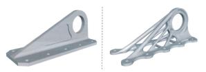 图 3:飞机制造中某结构件的传统设计与减重优化设计后的外观比较。