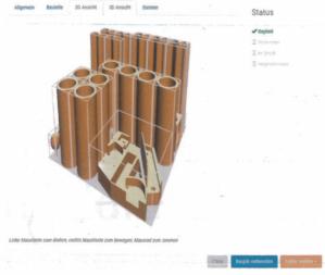 图 4: 在打印支撑板上统一编排的零件位置布置图。
